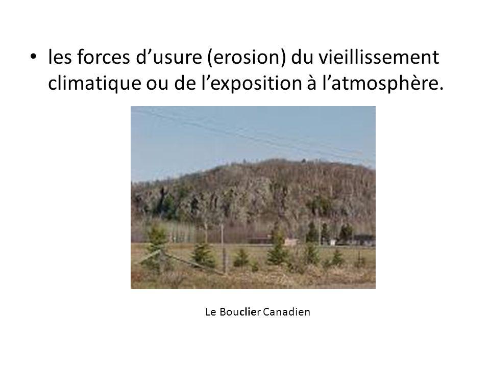 les forces d'usure (erosion) du vieillissement climatique ou de l'exposition à l'atmosphère.
