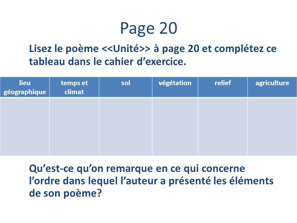 Page 20 Lisez le poème <<Unité>> à page 20 et complétez ce tableau dans le cahier d'exercice.