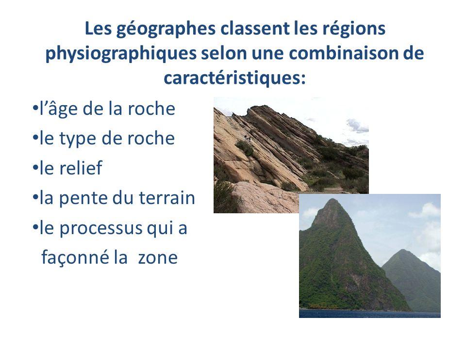 Les géographes classent les régions physiographiques selon une combinaison de caractéristiques: