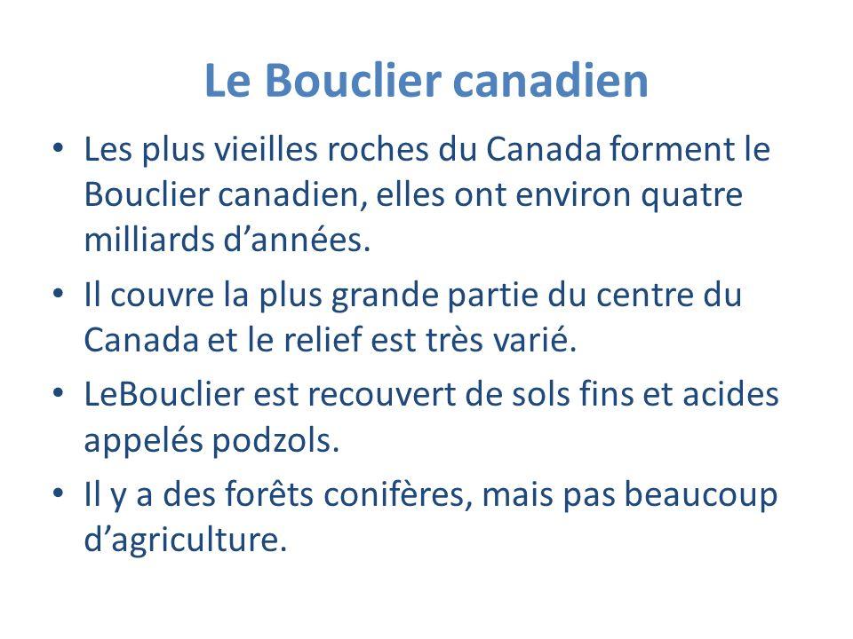 Le Bouclier canadien Les plus vieilles roches du Canada forment le Bouclier canadien, elles ont environ quatre milliards d'années.