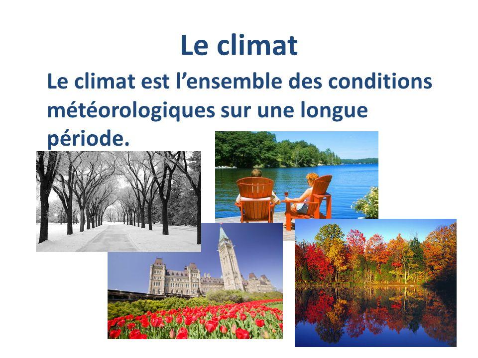 Le climat Le climat est l'ensemble des conditions météorologiques sur une longue période.
