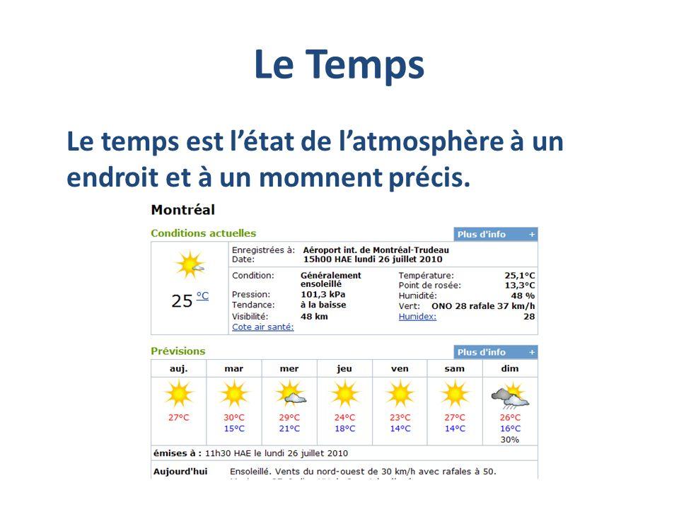 Le Temps Le temps est l'état de l'atmosphère à un endroit et à un momnent précis.