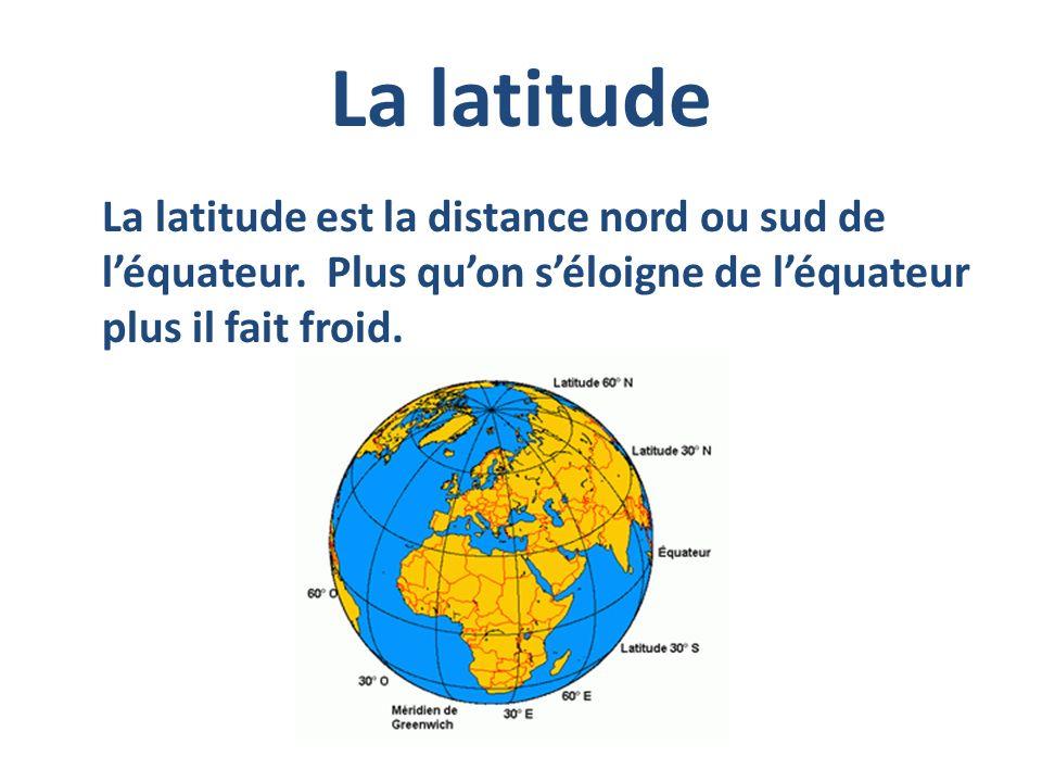 La latitude La latitude est la distance nord ou sud de l'équateur.