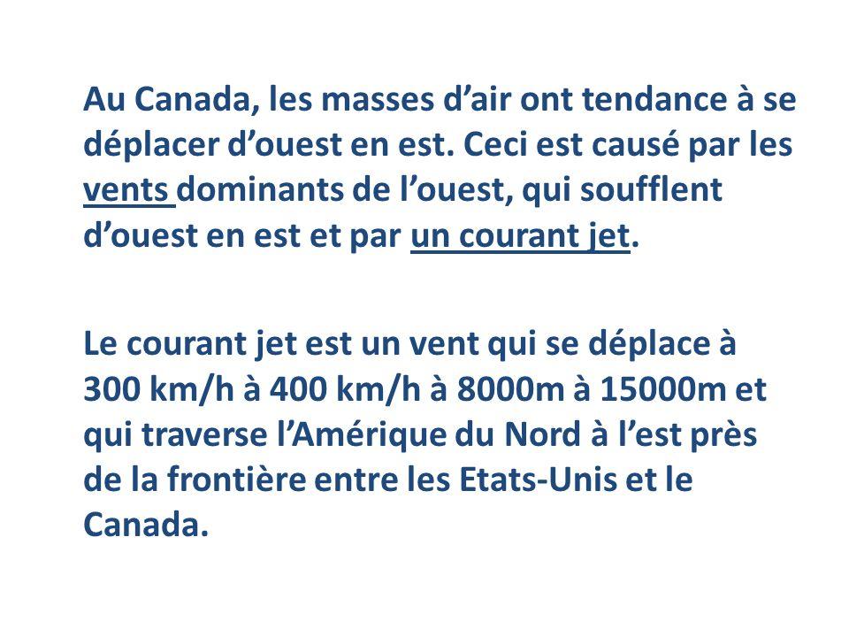 Au Canada, les masses d'air ont tendance à se déplacer d'ouest en est