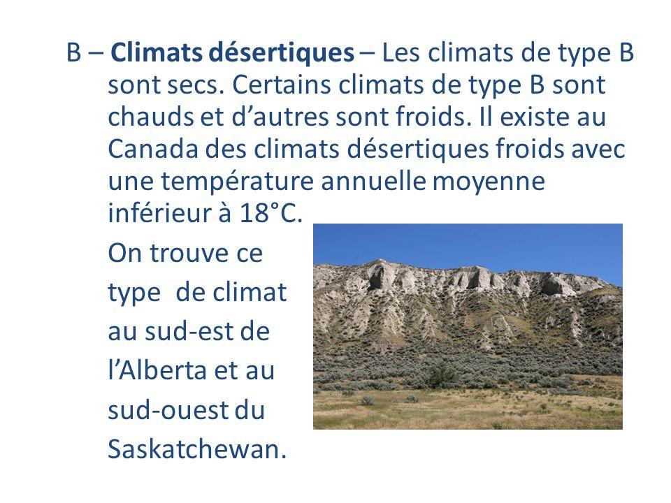 B – Climats désertiques – Les climats de type B sont secs