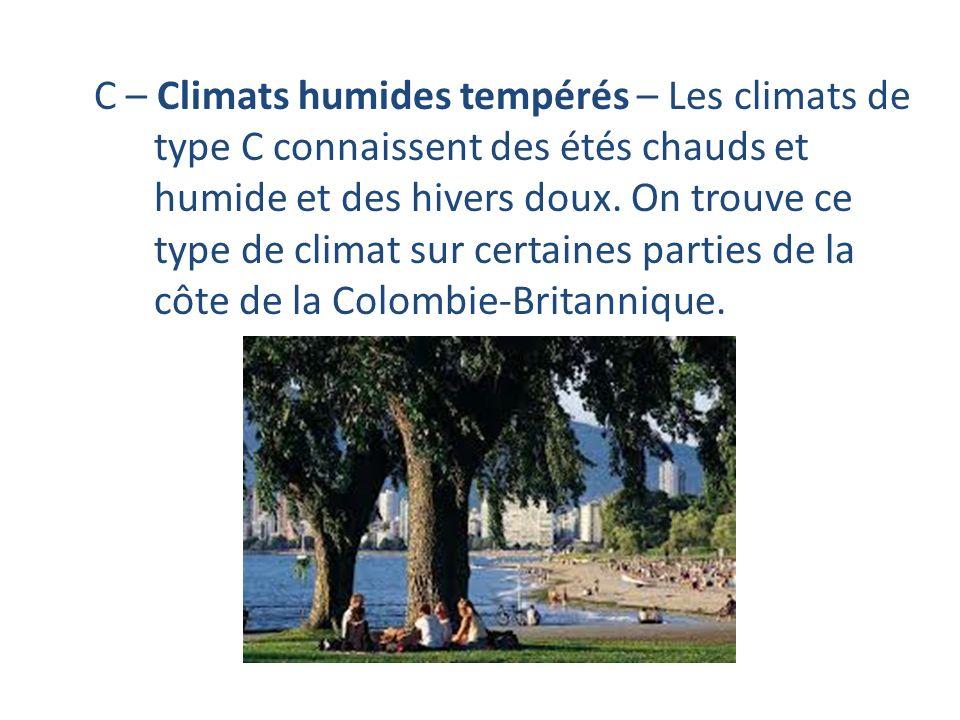 C – Climats humides tempérés – Les climats de