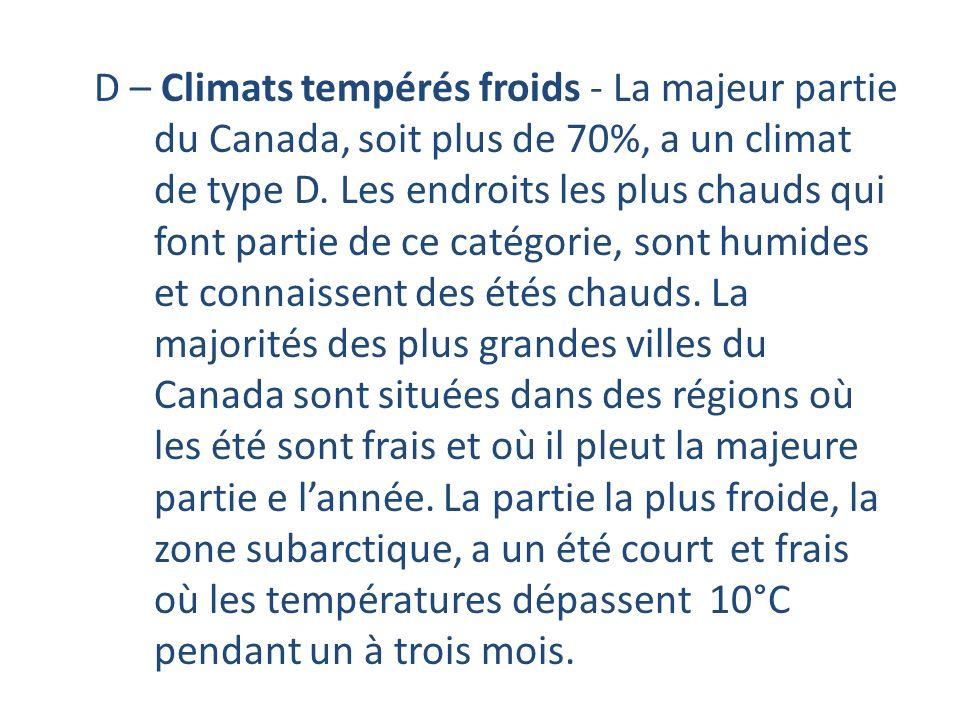 D – Climats tempérés froids - La majeur partie