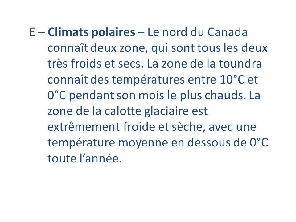 E – Climats polaires – Le nord du Canada