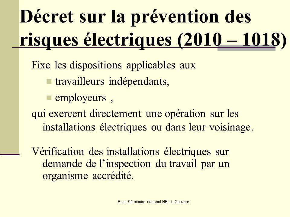 Décret sur la prévention des risques électriques (2010 – 1018)