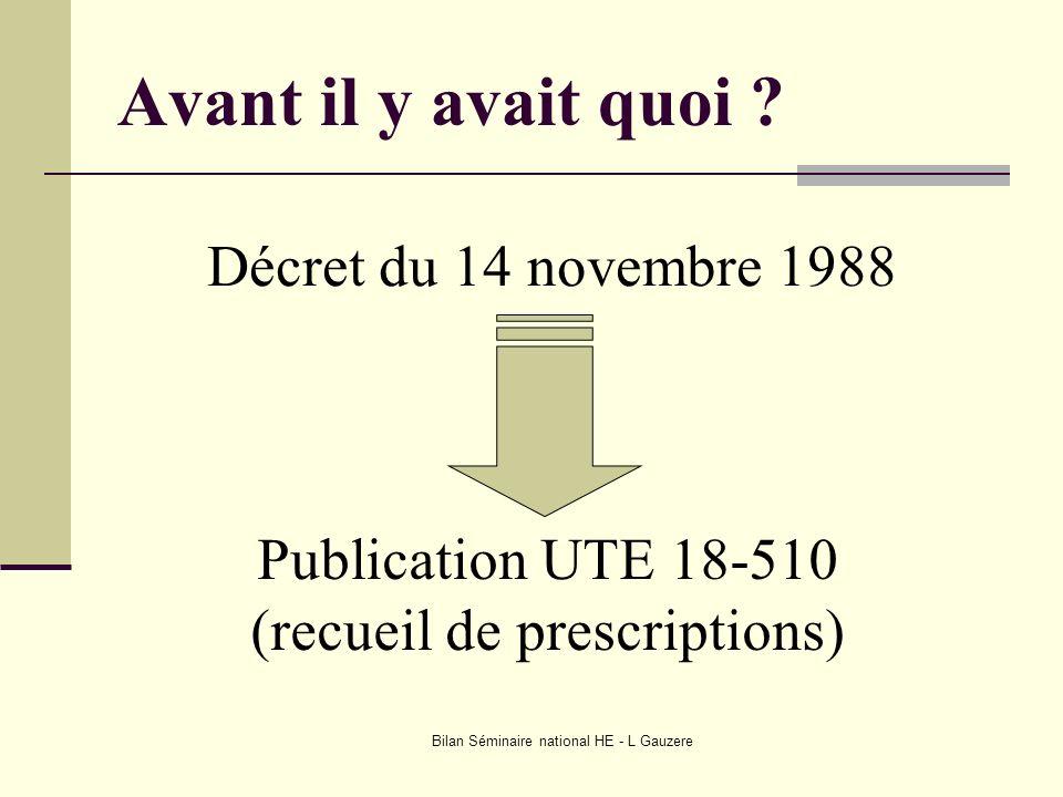 Avant il y avait quoi Décret du 14 novembre 1988