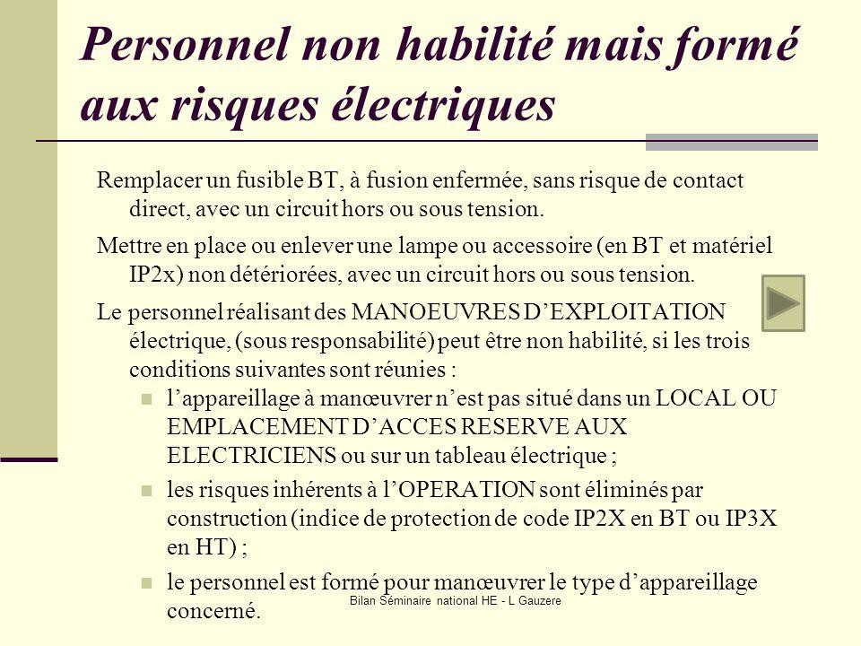 Personnel non habilité mais formé aux risques électriques