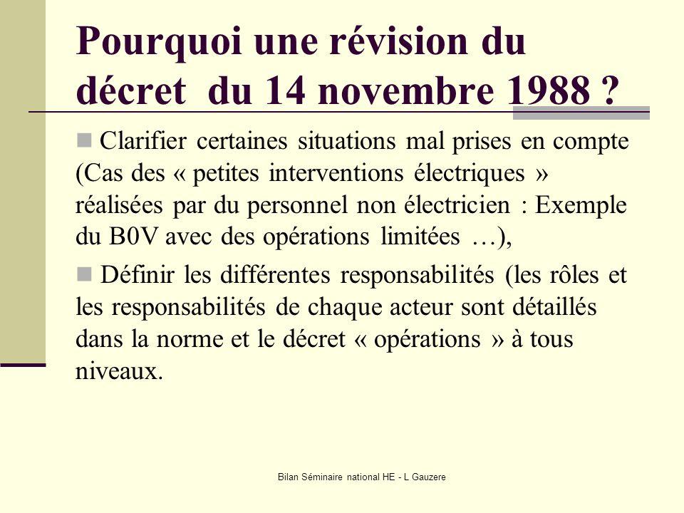 Pourquoi une révision du décret du 14 novembre 1988