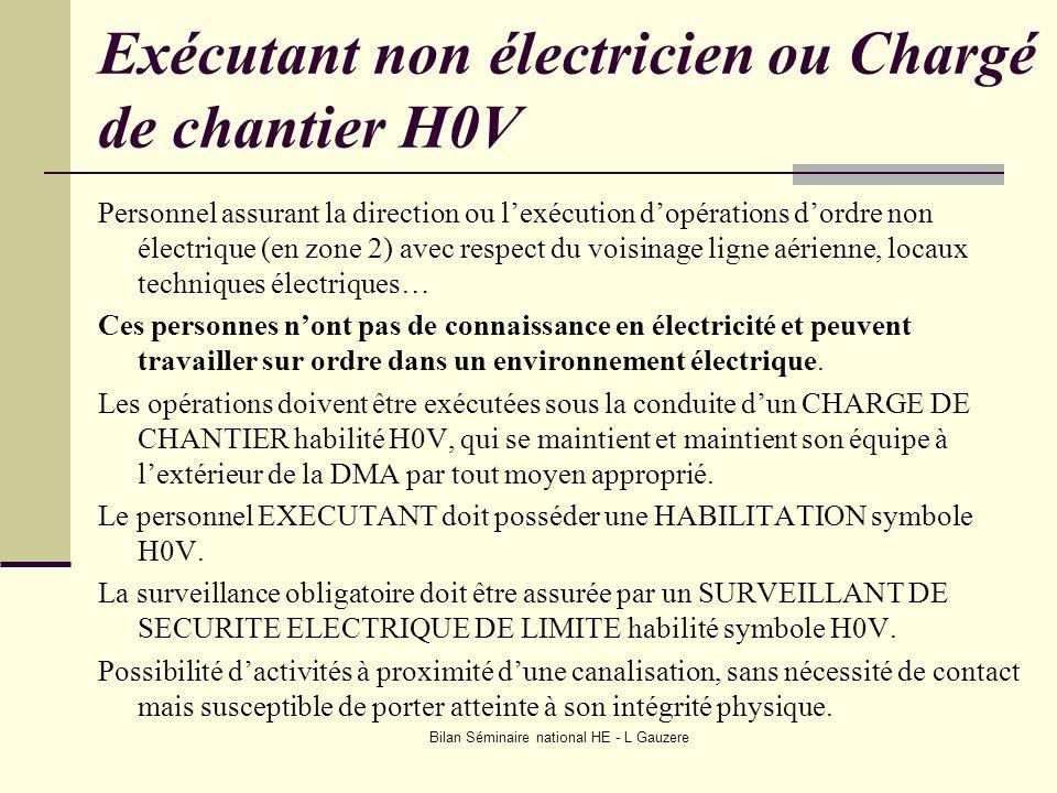 Exécutant non électricien ou Chargé de chantier H0V
