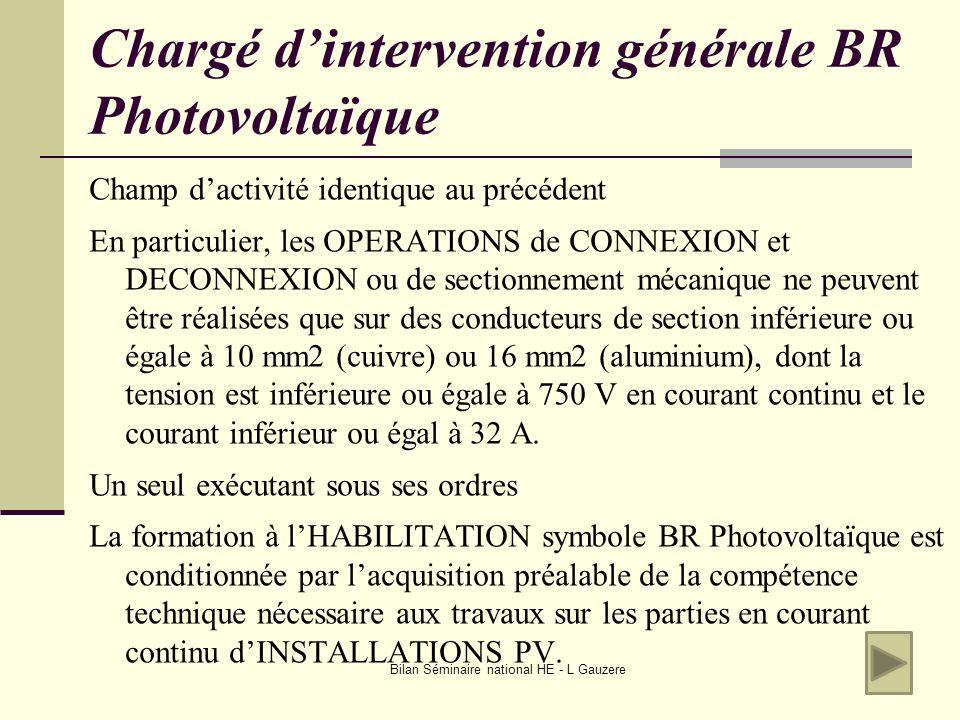 Chargé d'intervention générale BR Photovoltaïque