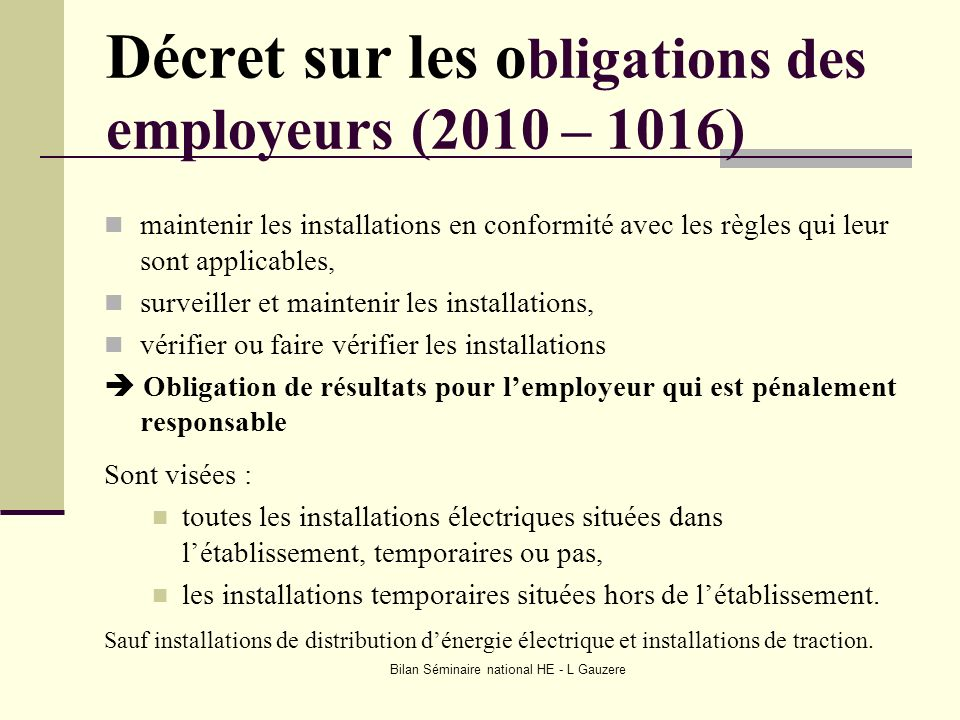 Décret sur les obligations des employeurs (2010 – 1016)