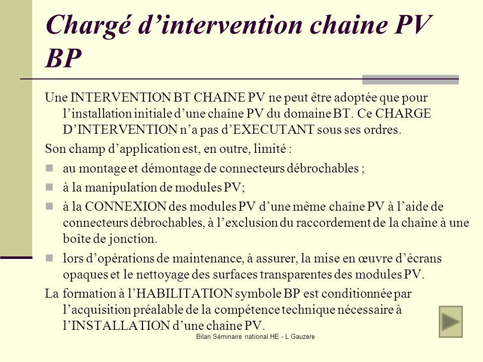 Chargé d'intervention chaine PV BP