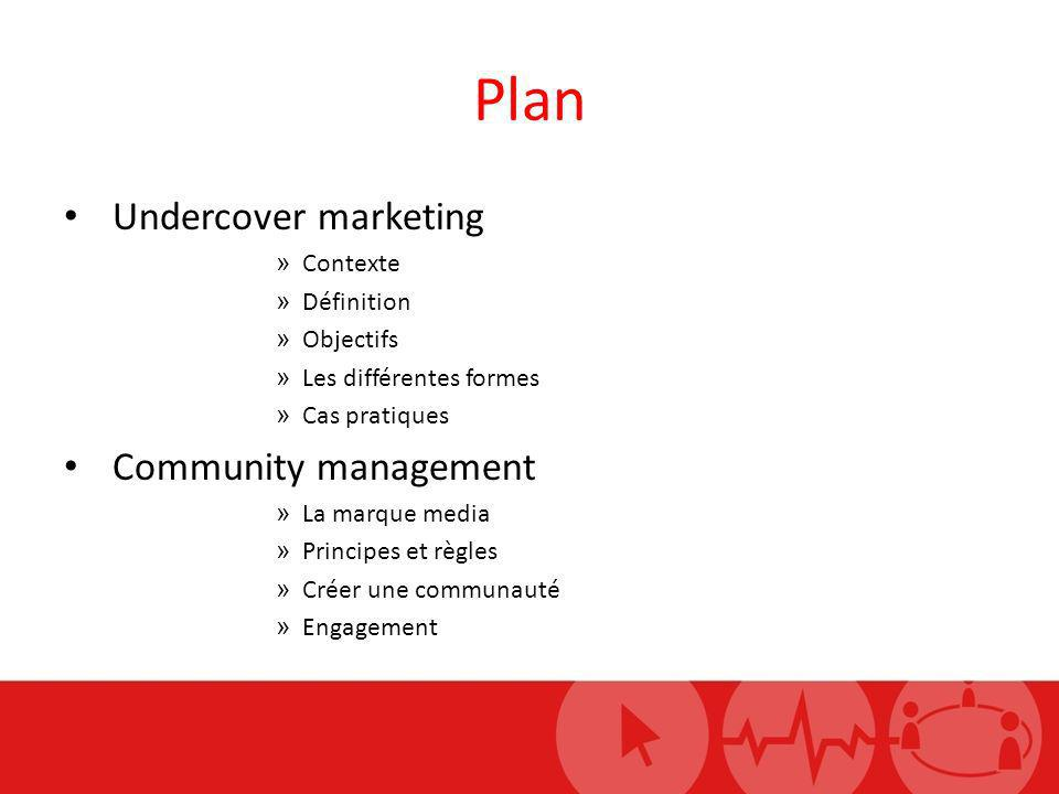 Plan Undercover marketing Community management Contexte Définition