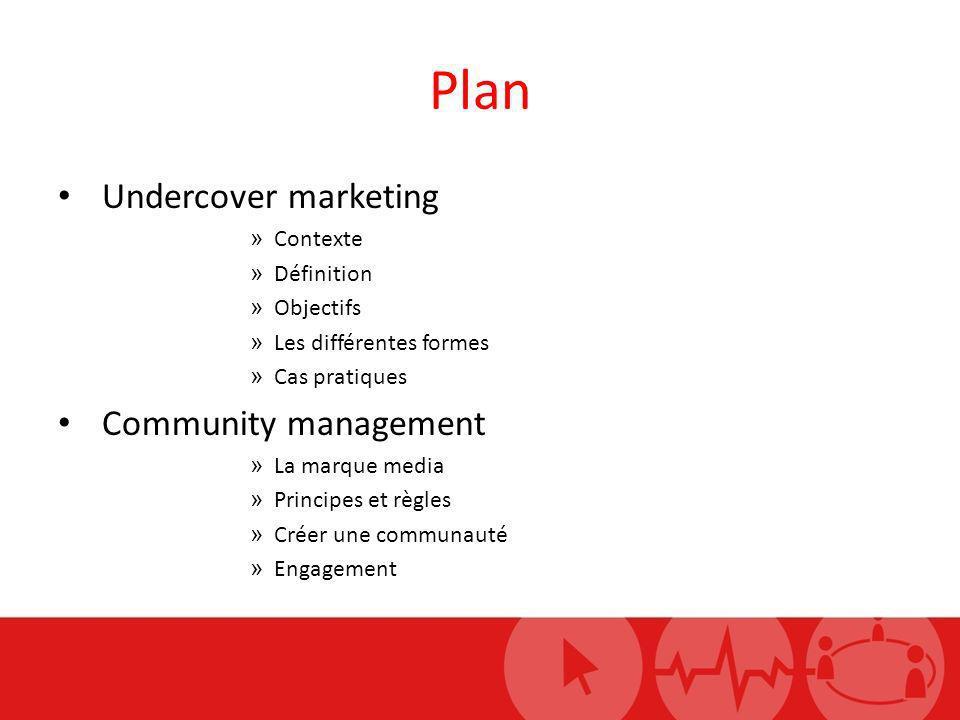 Plan Undercover marketing Community management Contexte Définition