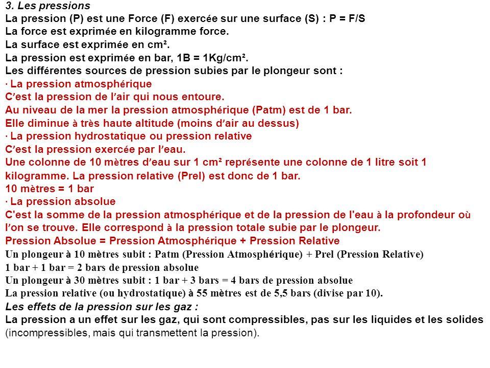 3. Les pressions La pression (P) est une Force (F) exercée sur une surface (S) : P = F/S. La force est exprimée en kilogramme force.