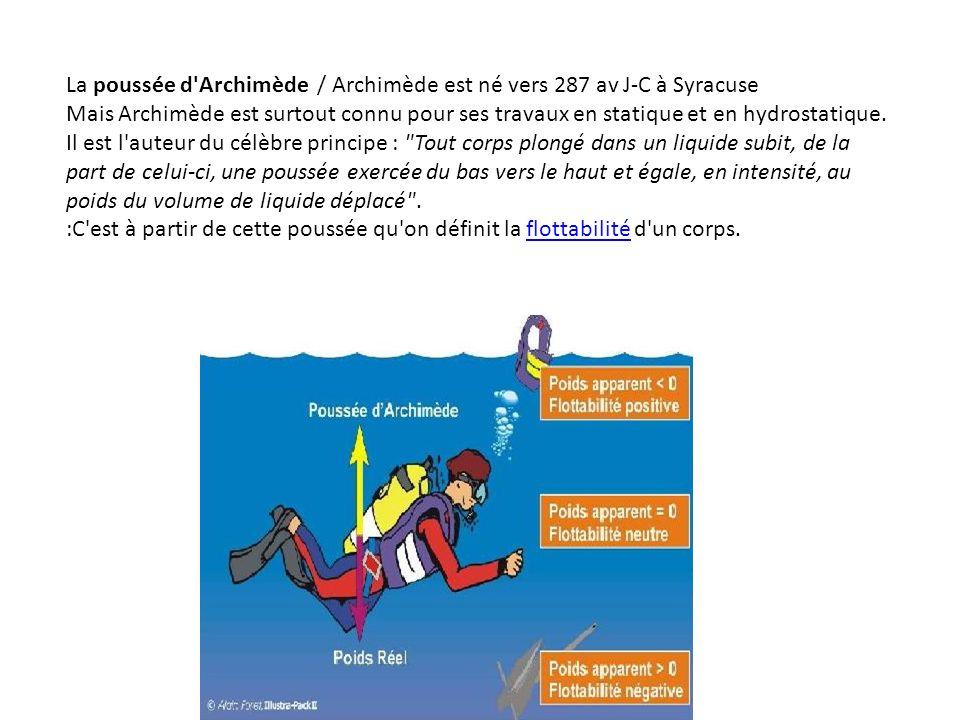 La poussée d Archimède / Archimède est né vers 287 av J-C à Syracuse
