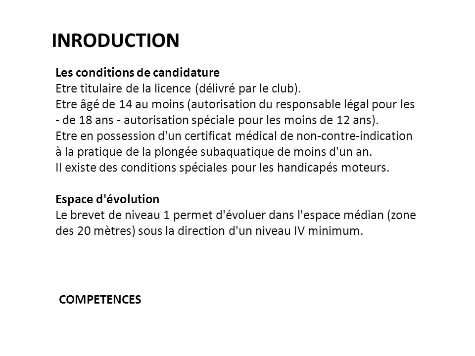 INRODUCTION Les conditions de candidature