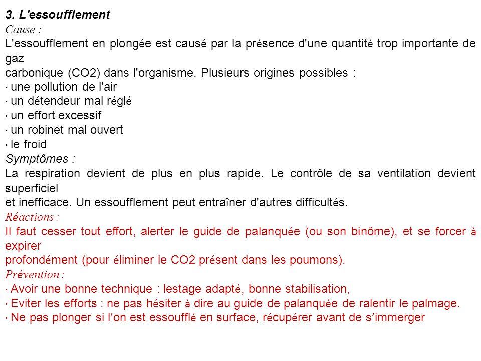 3. L essoufflement Cause : L essoufflement en plongée est causé par la présence d une quantité trop importante de gaz.