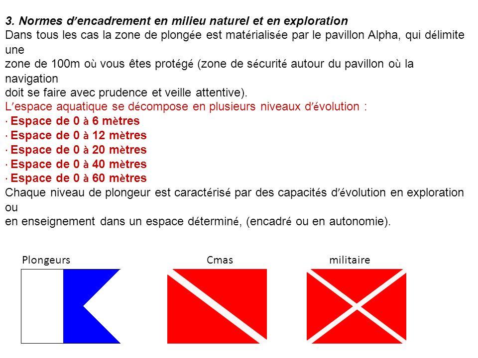 3. Normes d'encadrement en milieu naturel et en exploration