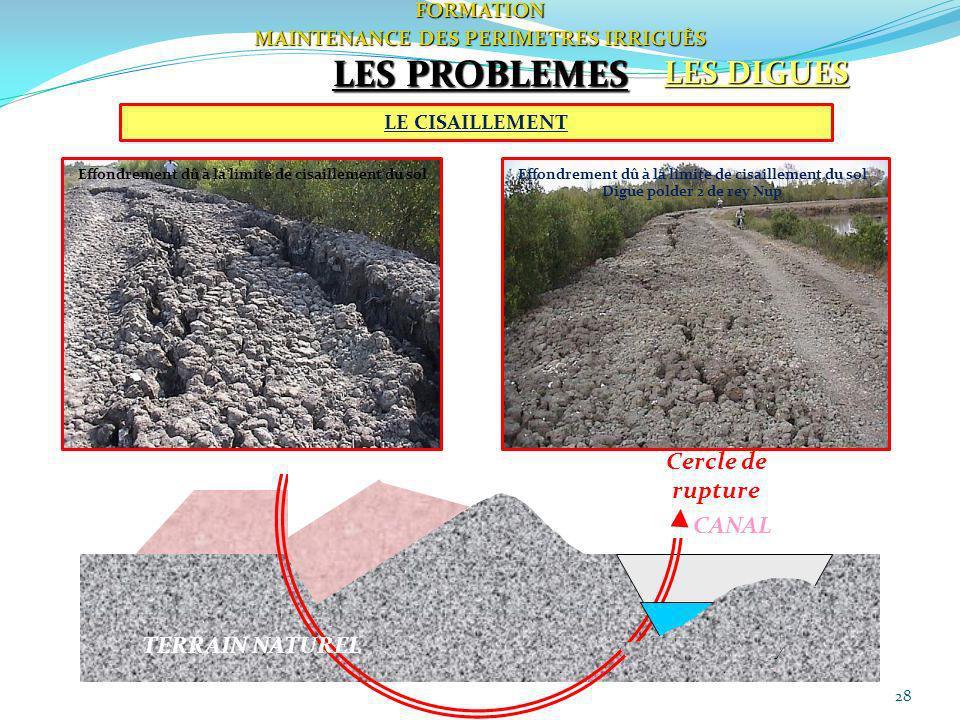 LES PROBLEMES LES DIGUES DIGUE Cercle de rupture CANAL TERRAIN NATUREL