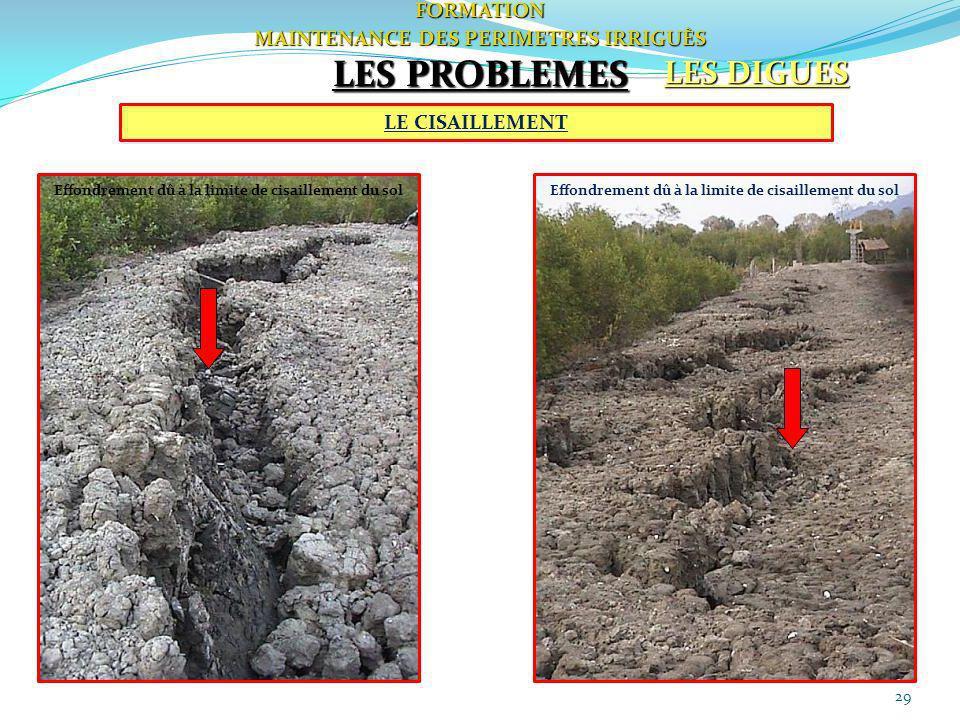 LES PROBLEMES LES DIGUES FORMATION MAINTENANCE DES PERIMETRES IRRIGUÈS