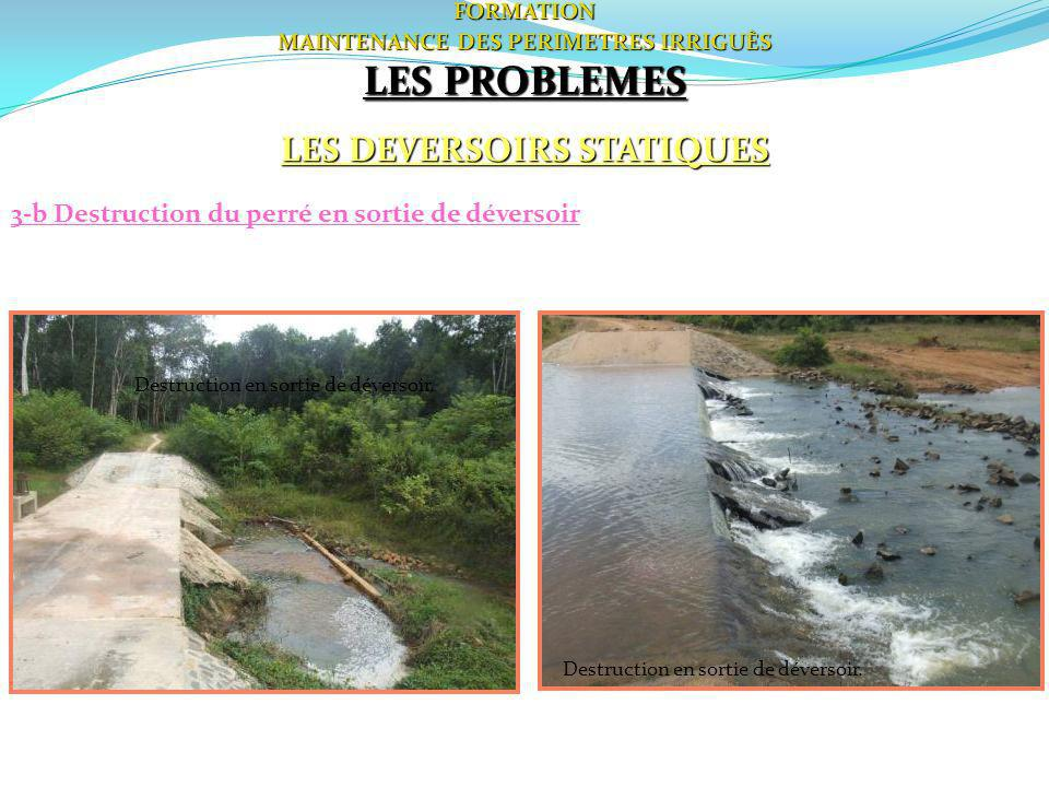 MAINTENANCE DES PERIMETRES IRRIGUÈS LES DEVERSOIRS STATIQUES