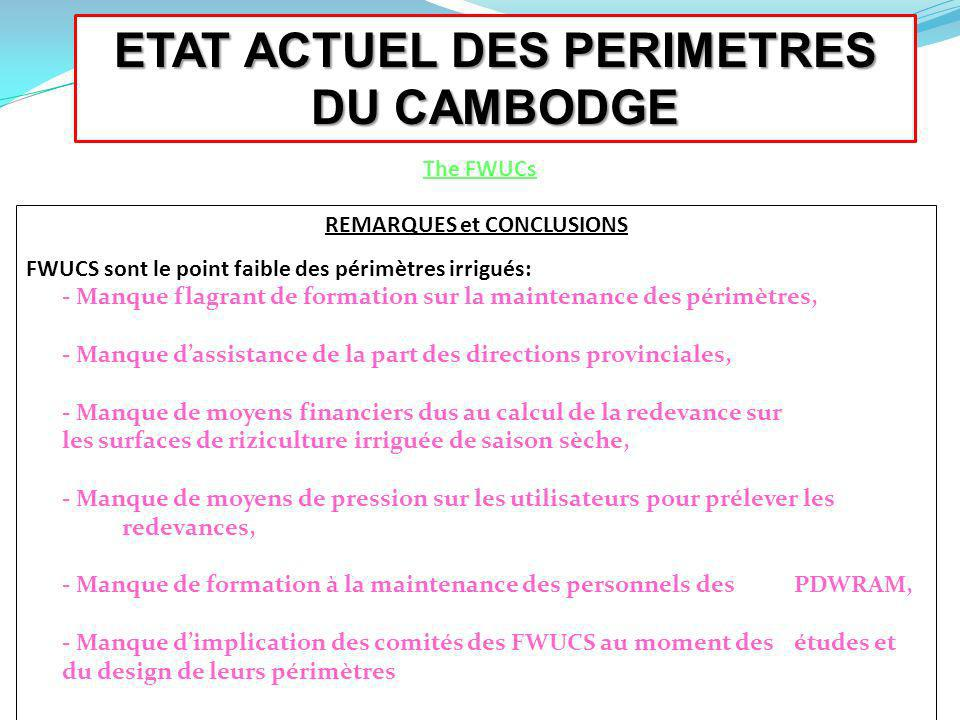 ETAT ACTUEL DES PERIMETRES DU CAMBODGE REMARQUES et CONCLUSIONS