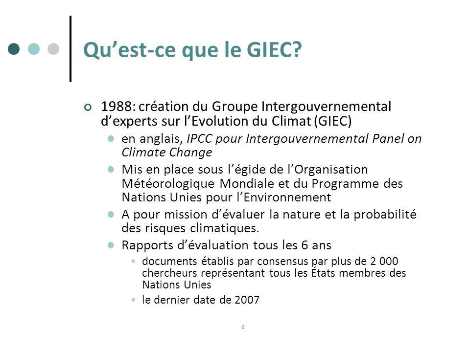 Qu'est-ce que le GIEC 1988: création du Groupe Intergouvernemental d'experts sur l'Evolution du Climat (GIEC)