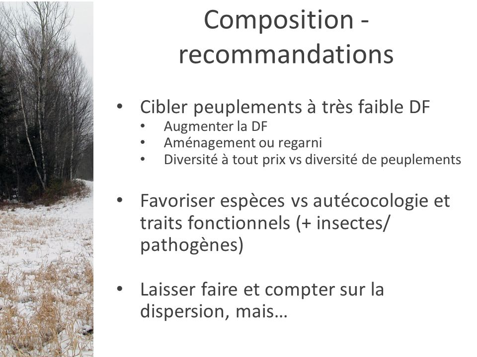 Composition - recommandations