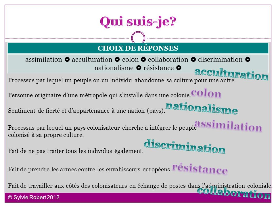 Qui suis-je acculturation colon nationalisme assimilation