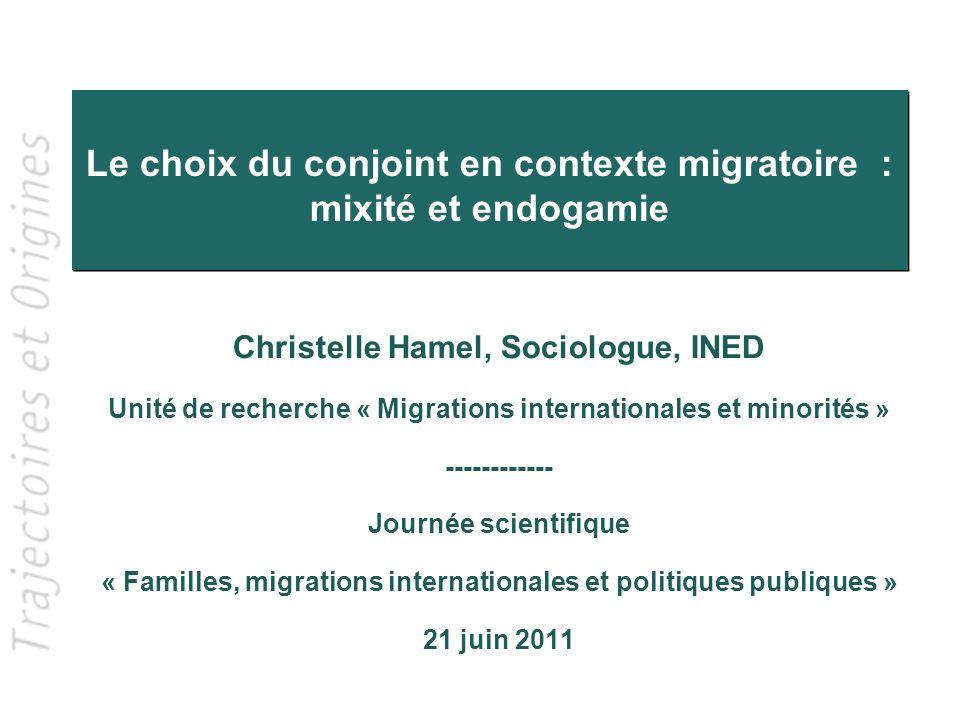Le choix du conjoint en contexte migratoire : mixité et endogamie