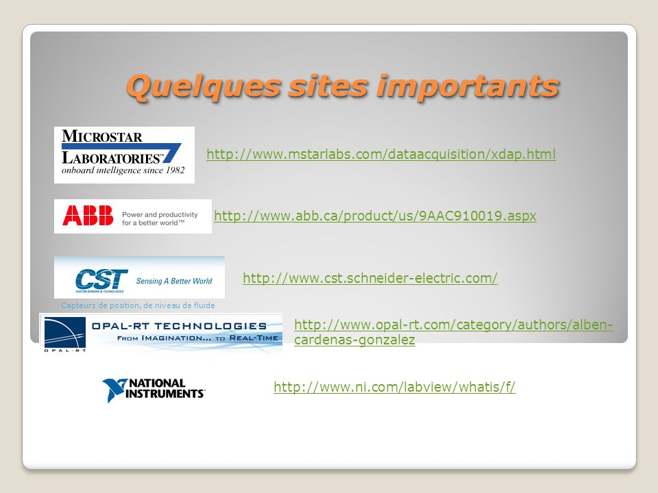Quelques sites importants