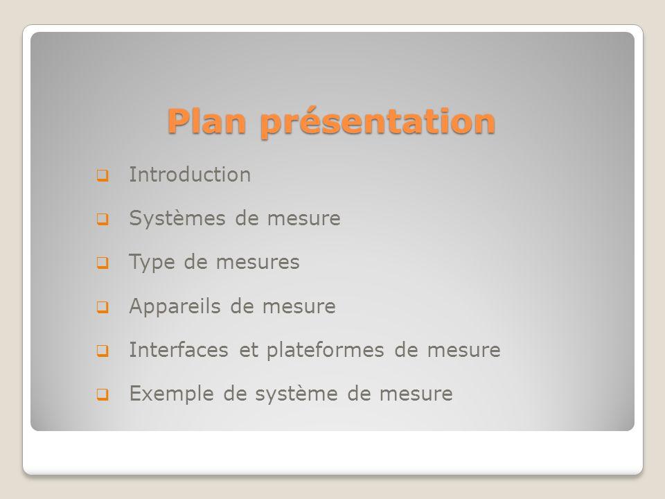 Plan présentation Introduction Systèmes de mesure Type de mesures