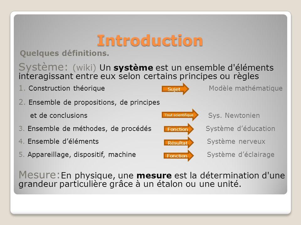 Introduction Quelques définitions. Système: (wiki) Un système est un ensemble d éléments interagissant entre eux selon certains principes ou règles.