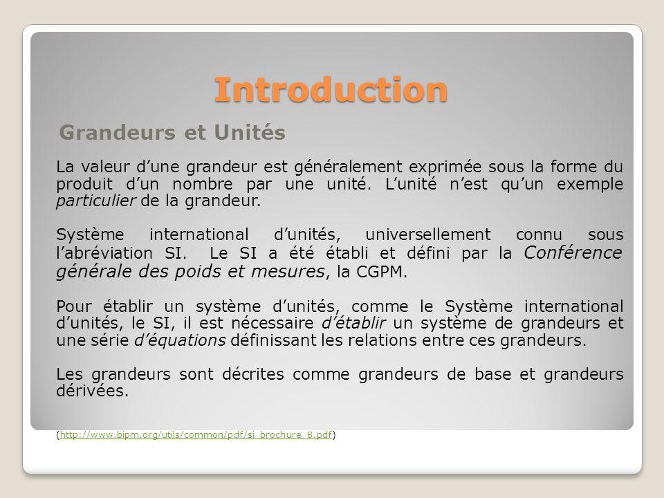 Introduction Grandeurs et Unités