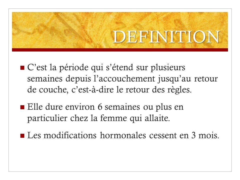 DEFINITION C'est la période qui s'étend sur plusieurs semaines depuis l'accouchement jusqu'au retour de couche, c'est-à-dire le retour des règles.