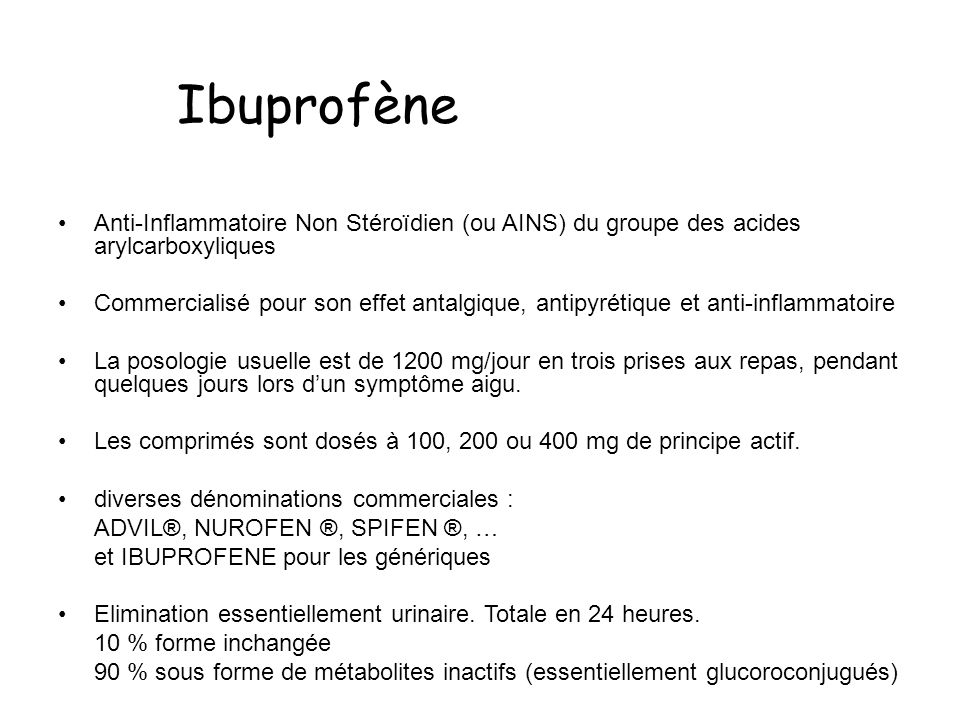 IbuprofèneAnti-Inflammatoire Non Stéroïdien (ou AINS) du groupe des acides arylcarboxyliques.