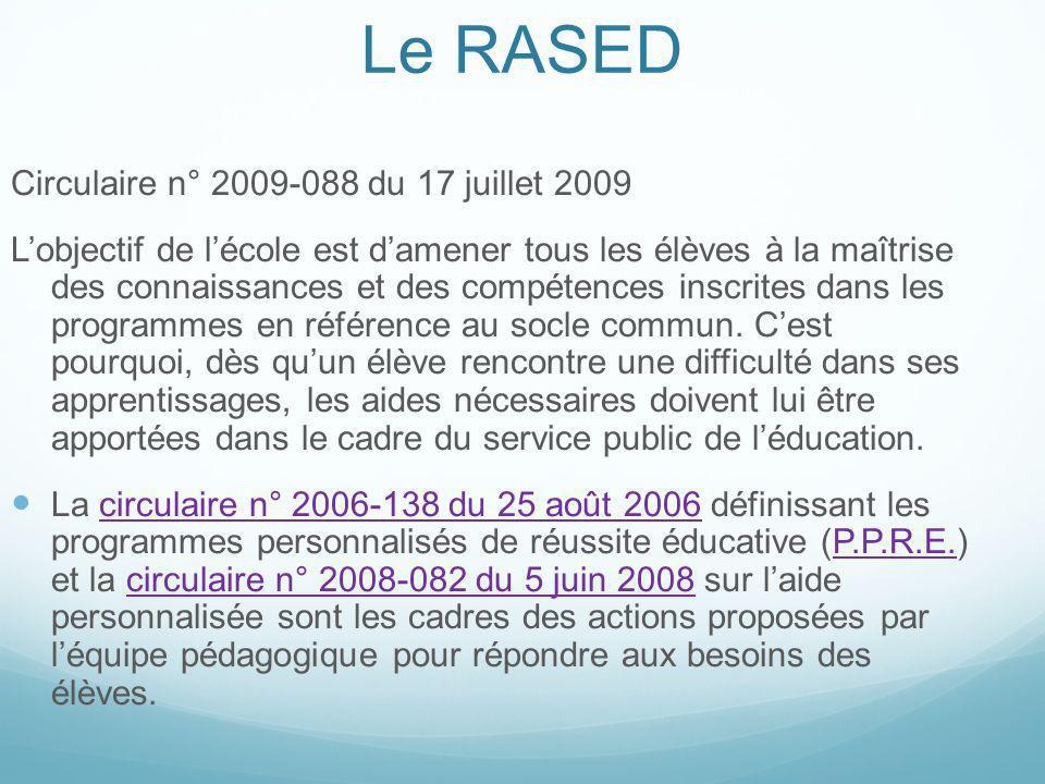 Le RASED Circulaire n° 2009-088 du 17 juillet 2009