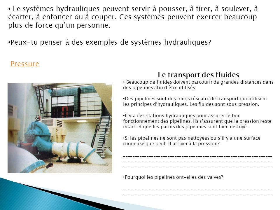 Le transport des fluides