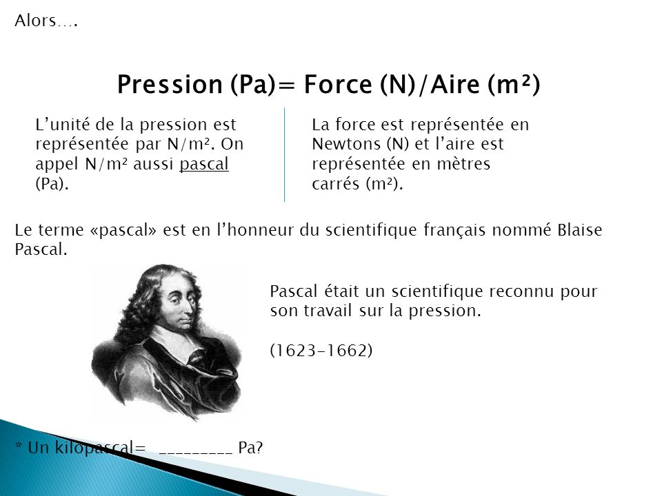 Pression (Pa)= Force (N)/Aire (m²)