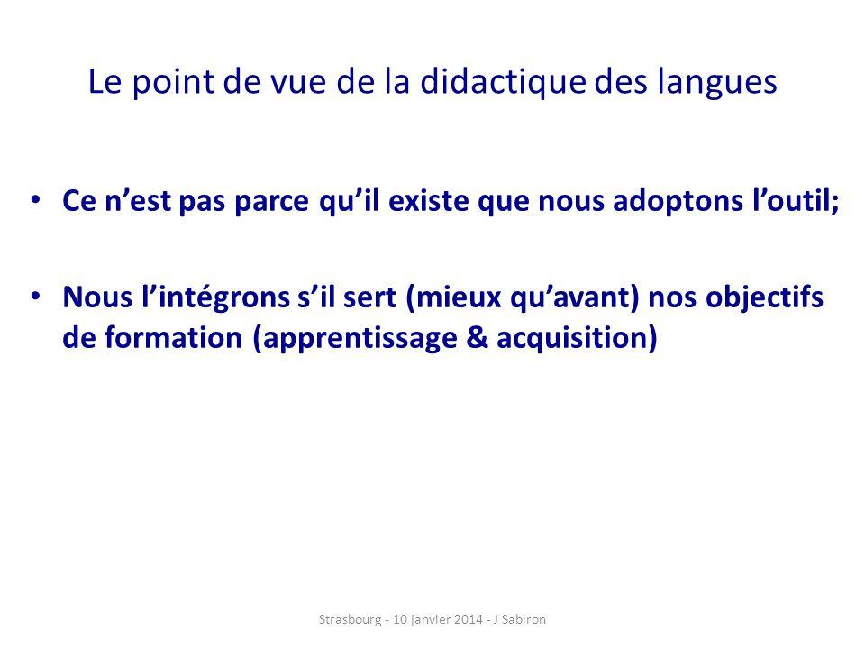 Le point de vue de la didactique des langues