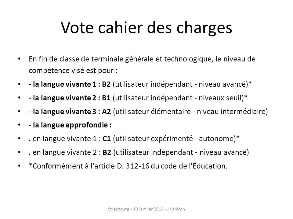 Vote cahier des charges