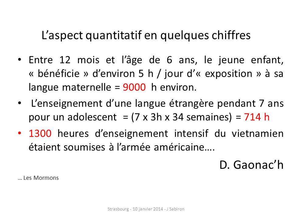 L'aspect quantitatif en quelques chiffres