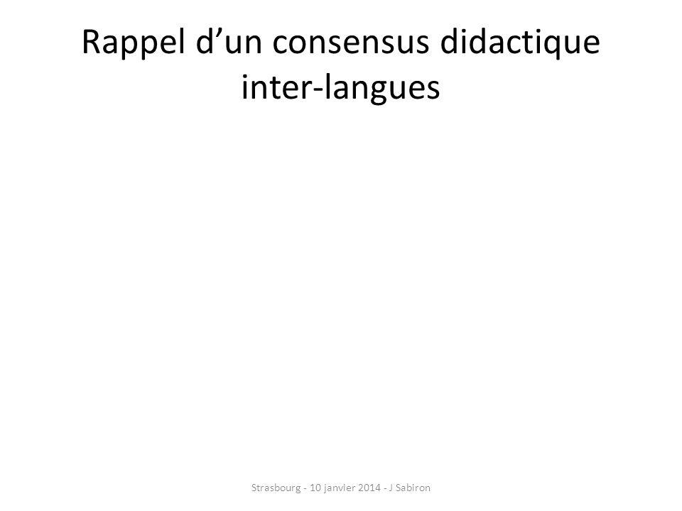Rappel d'un consensus didactique inter-langues