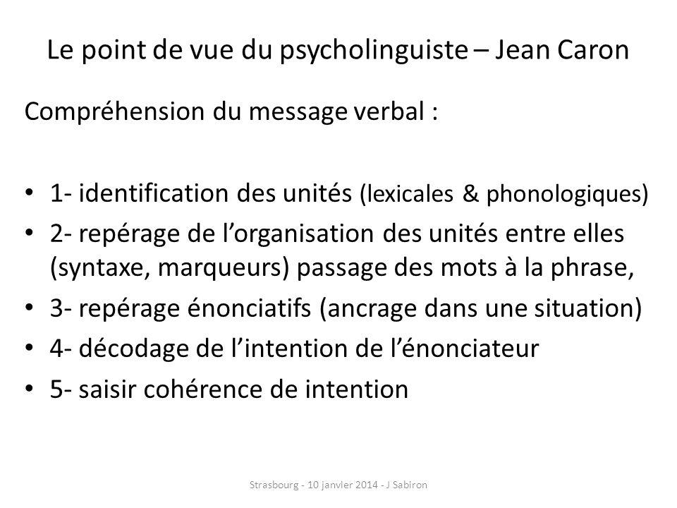 Le point de vue du psycholinguiste – Jean Caron