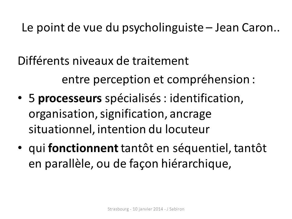 Le point de vue du psycholinguiste – Jean Caron..